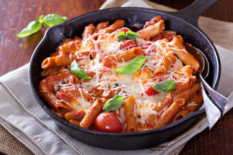 Cooked pasta in oven