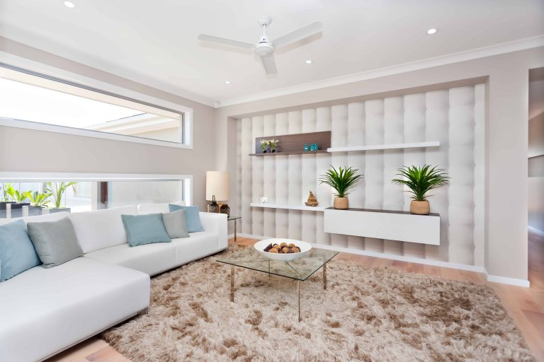 Modern living room with ceiling fan