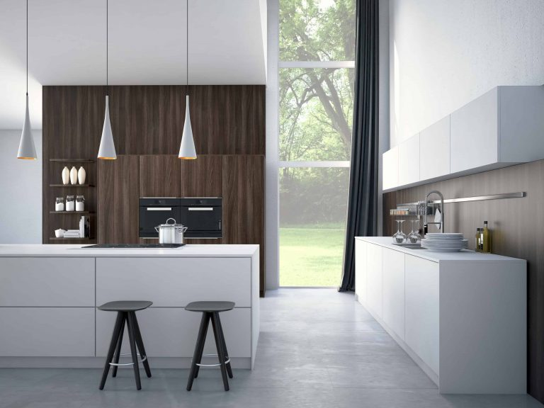 Modern, bright, clean, kitchen interior with stainless steel
