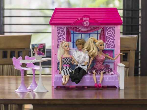 Barbies with Ken in doll house