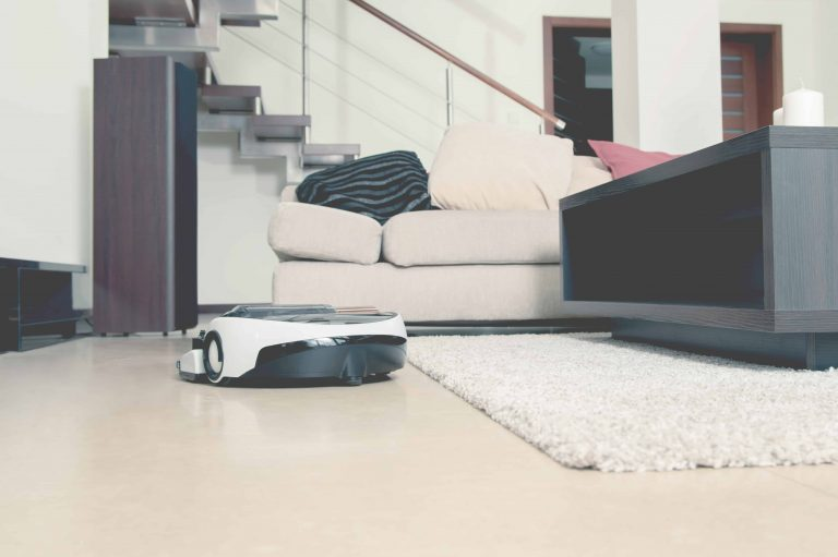 Robot vacuum in living room