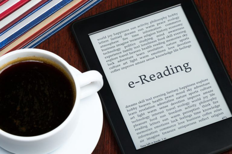 E-reader with a cup of coffee