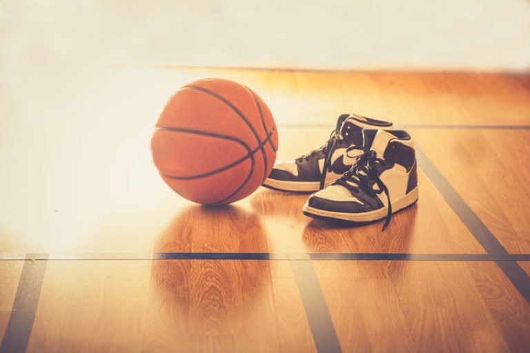 shoes and a basketball