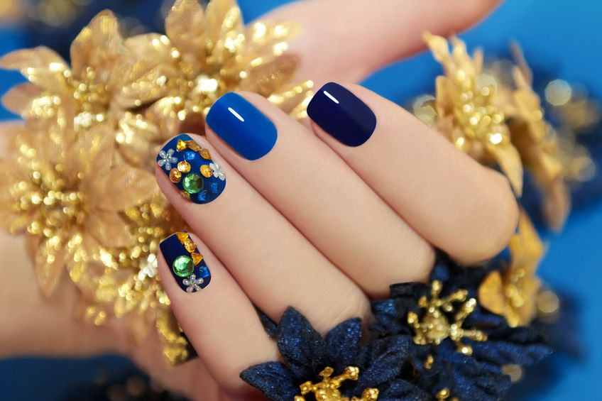 Image of blue painted nails