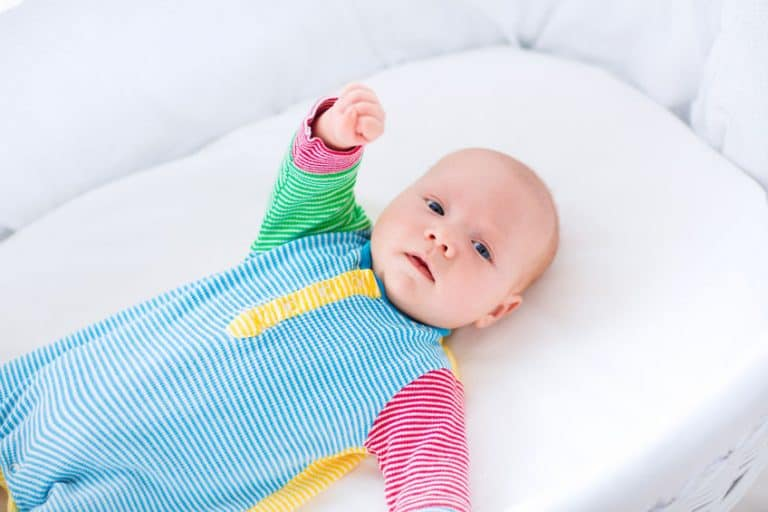 baby with a colorful pijama
