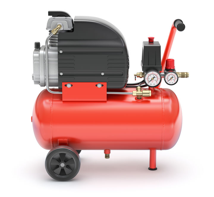 red portable air compressor on white background - 3d illustration