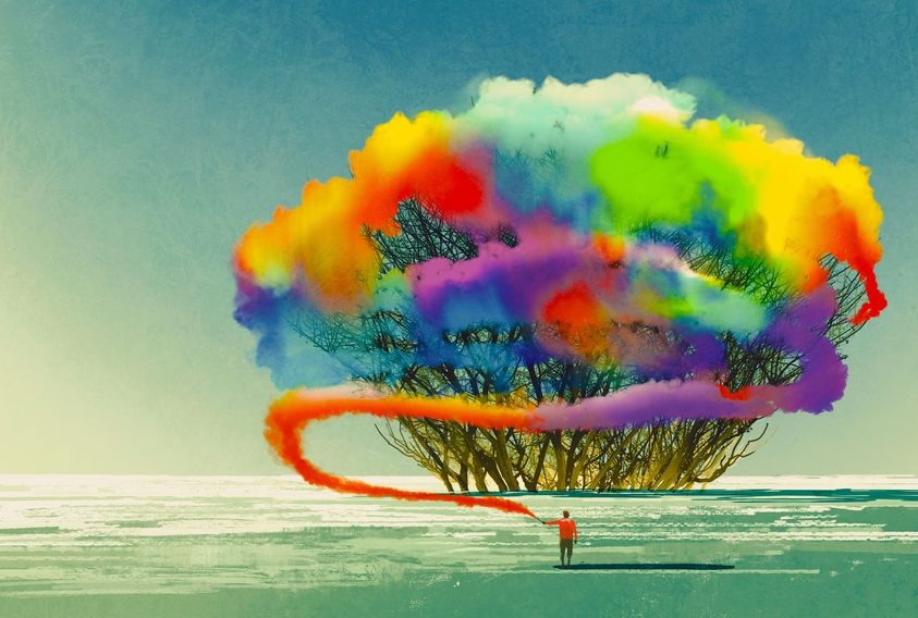 man draws abstract tree with colorful smoke flare,illustration painting